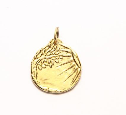médaille de bapteme soleil or jaune